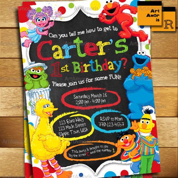 Elmo Invitation, Elmo Birthday Invitation, Sesame Street