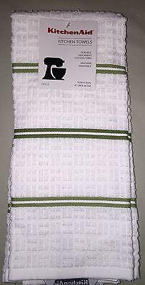 Kitchenaid 2 Pack Cotton Terry Kitchen Towels Green Stripe Nwt Green Towels Kitchen Towels Kitchen Aid
