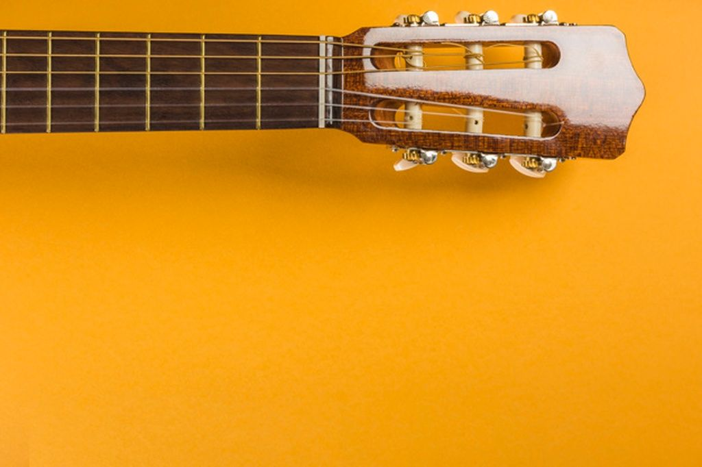 Head Of Classical Acoustic Guitar On Yellow Background Paid Ad Paid Acoustic Background In 2020 Classical Acoustic Guitar Yellow Background Acoustic Guitar