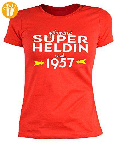 Frauen-Geburtstags/Jahrgangsshirt/Spaßshirt: geborene Super Heldin seit  1957 geniales Geschenk (