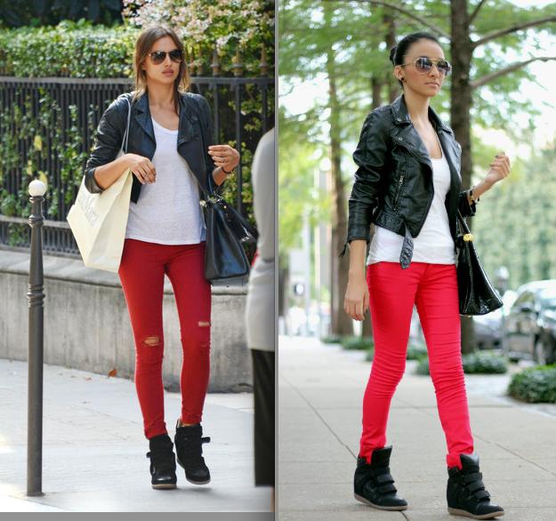 Irina Shayk wedge sneakers and red jeans | Branding | Pinterest