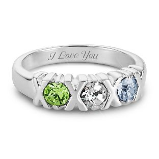 Personalized Sterling Silver 3 Birthstone Hugs and Kisses Ring With Free Keepsake Box, Add Your Message