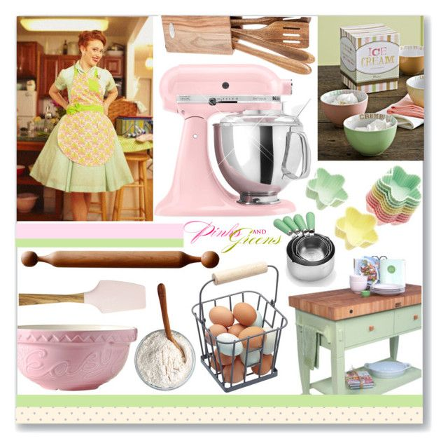 """""""Pink And Green Kitchen"""" by oregonelegance ❤ liked on Polyvore featuring interior, interiors, interior design, home, home decor, interior decorating, Rosanna, Mason Cash, John Boos & Co. and Nordal"""