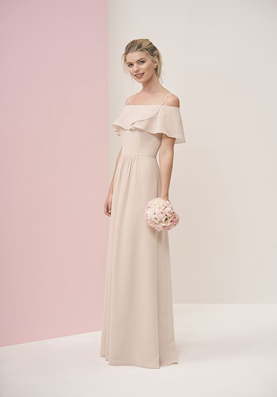 b02b836ccc7 Off the shoulder ruffle bridesmaid dress