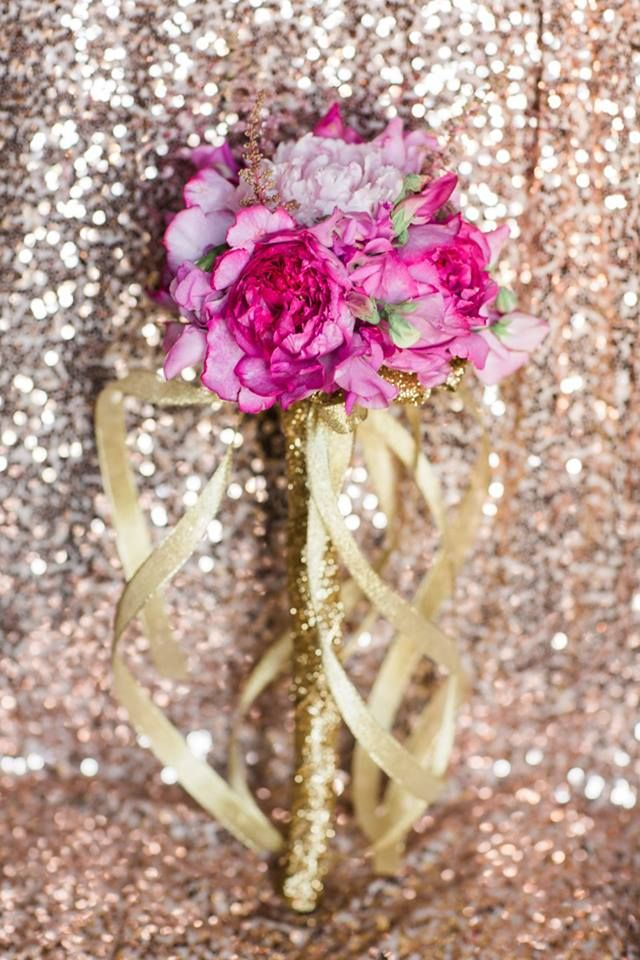 Pink And Gold Flower Girl Wand By Nicole Ha Designs