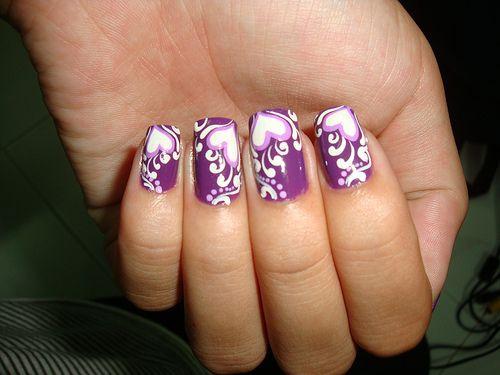 Purple Nail Design with Hearts - http://www.naildesignsforyou.com/purple-nail-designs/ #nails #naildesigns #nailart #purplenails #purplenaildesigns #purplenailart #cutenails