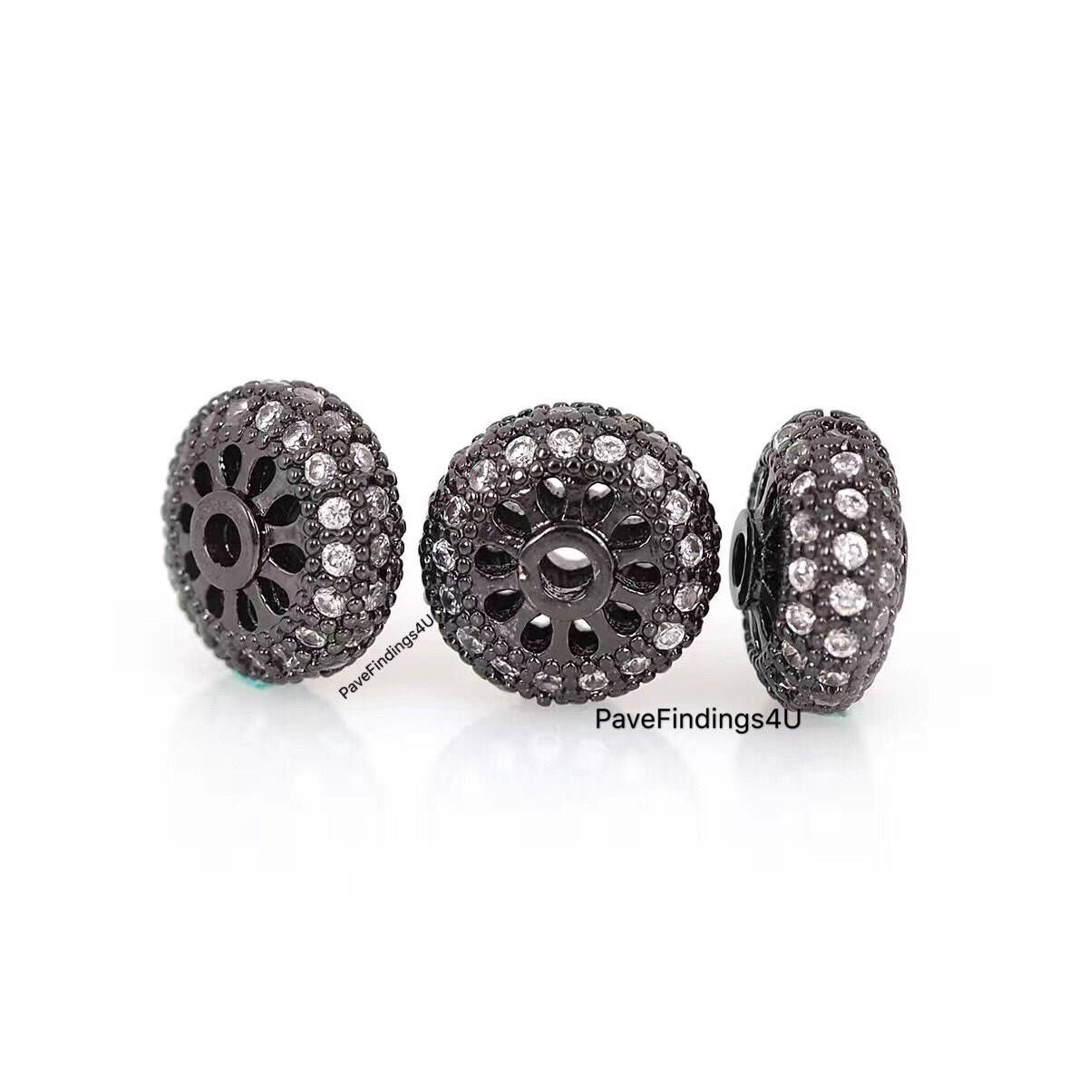 2pcs charm Metal Rhinestone Beads Roundel Spacer
