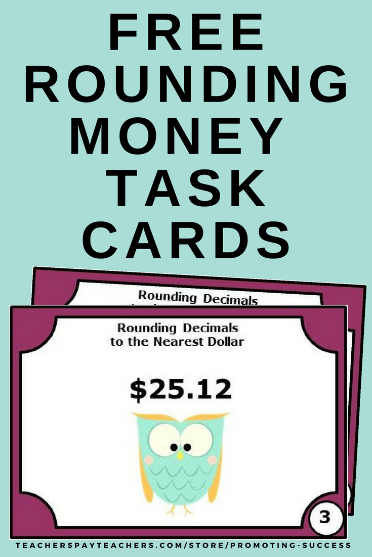 picture about Free Printable Task Cards called Cost-free Economical Undertaking Playing cards, Rounding in the direction of the Closest Greenback, US