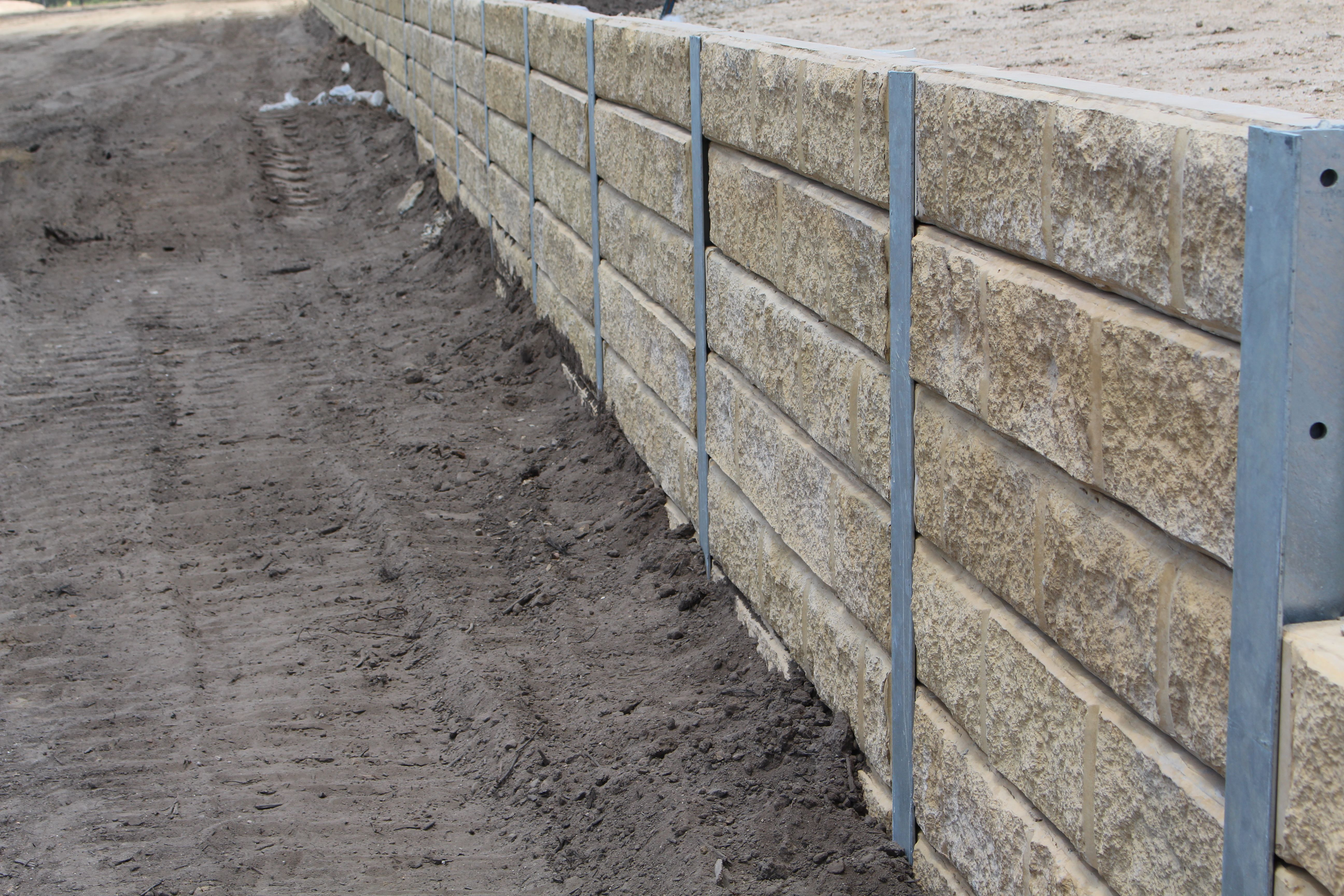 Pioneer Sandstone Effect Concrete Sleeper Retaining Wall By Aussie Concrete Products For Mor Concrete Sleeper Retaining Walls Retaining Wall Concrete Sleepers