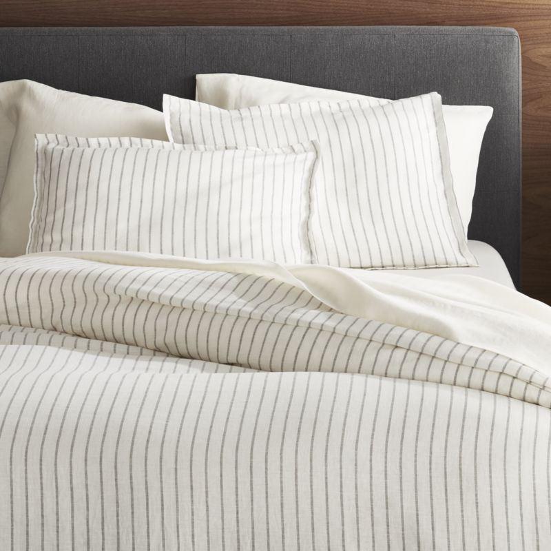 Pure Linen Wide Stripe Warm White Duvet Covers And Pillow Shams Crate And Barrel White Duvet Covers Gray Duvet Cover Duvet Cover Master Bedroom