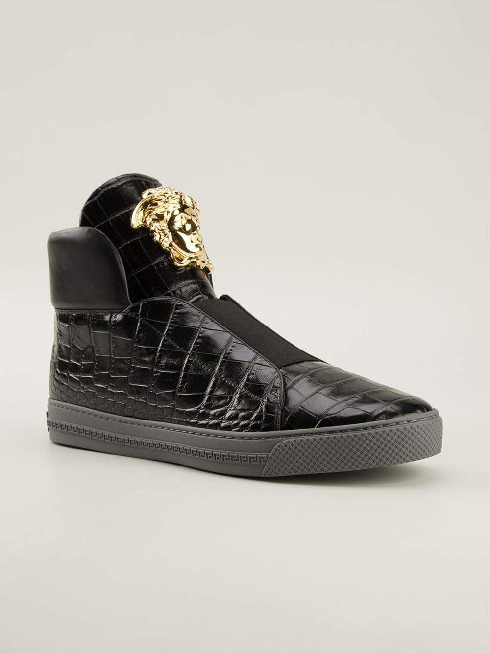 11ee711a9 Versace Moc Croc Hi-top Sneakers - | Shoes in 2019 | Shoes, Versace ...
