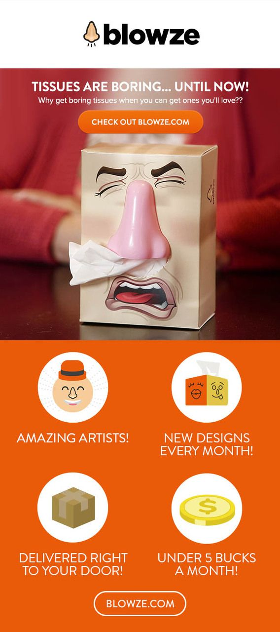 A different fun tissue box delivered to your door every month!