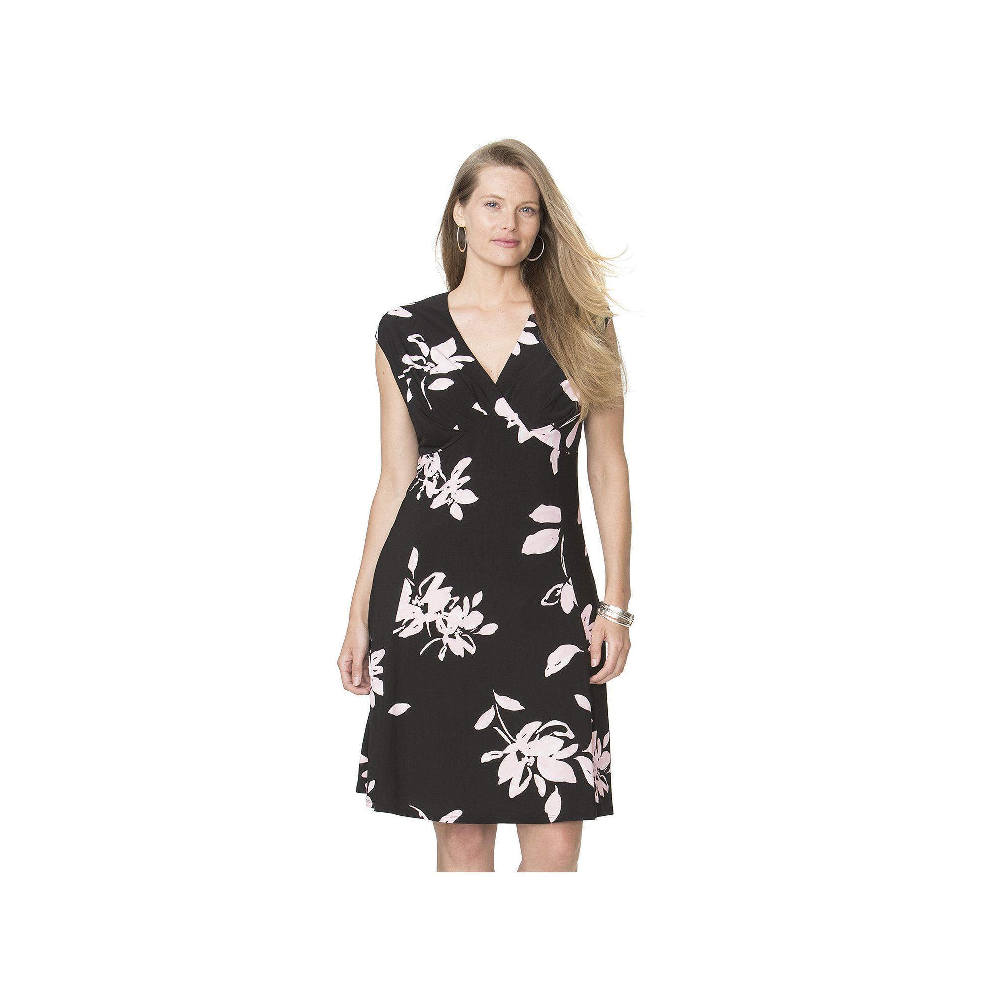b7fec8fc260 Plus Size Chaps Floral Surplice Empire Dress
