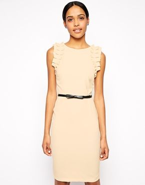 9d591e969197 Paperdolls Ruffle Shoulder Pencil Dress with Belt - cute work dress ...