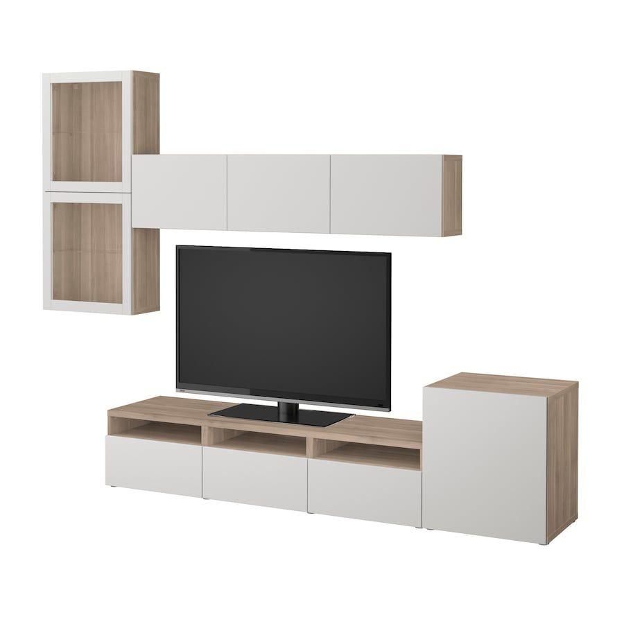 Besta Tv Storage Combination Glass Doors Walnut Effect Light Gray Lappviken Light Gray Clear Glass 118 1 8x7 7 8 15 3 4x83 1 8 En 2020 Meuble Rangement Salon Ikea Meuble Tv Rangement
