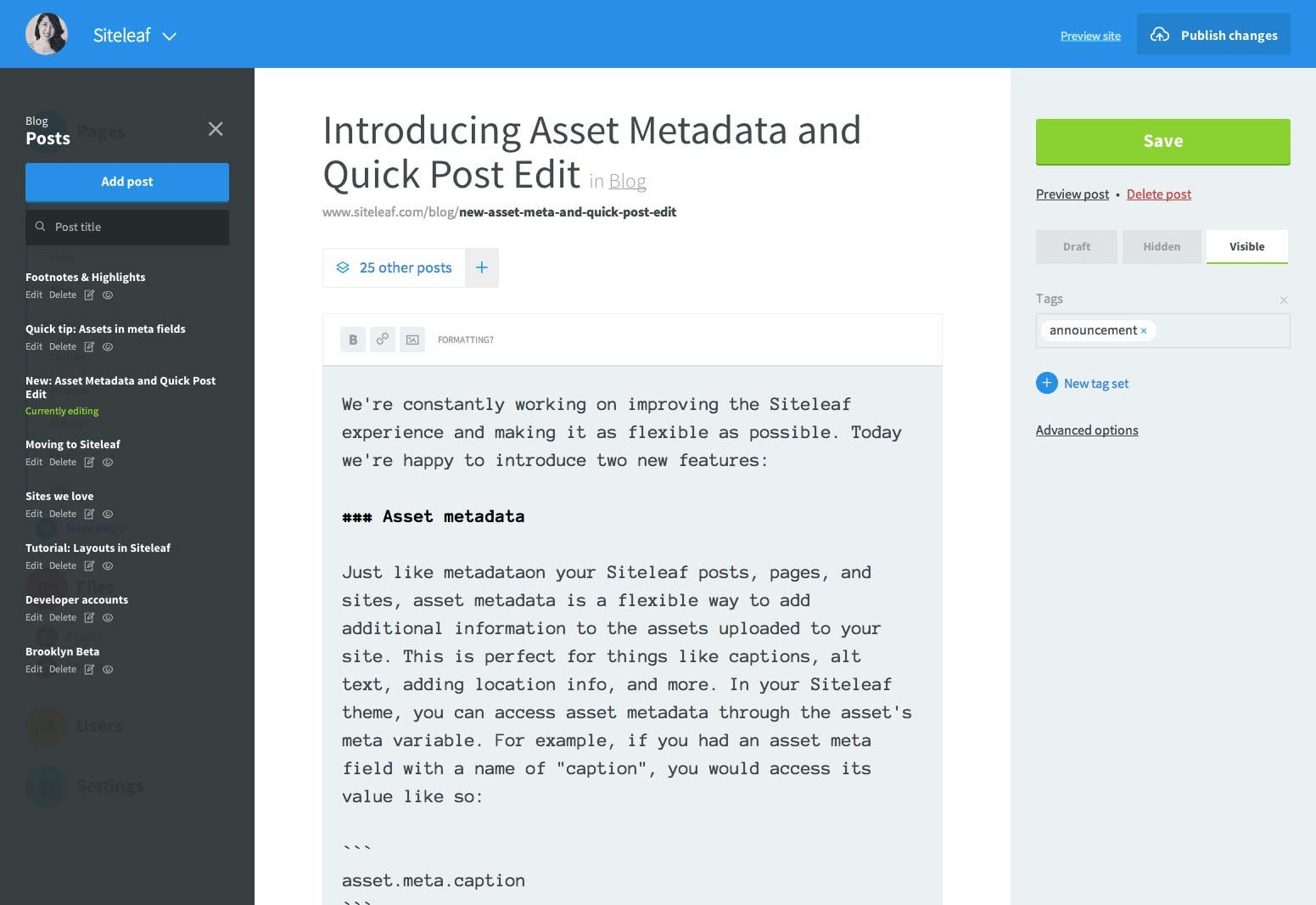 Siteleaf: Hosted content management of a Jekyll site (v2 of Siteleaf