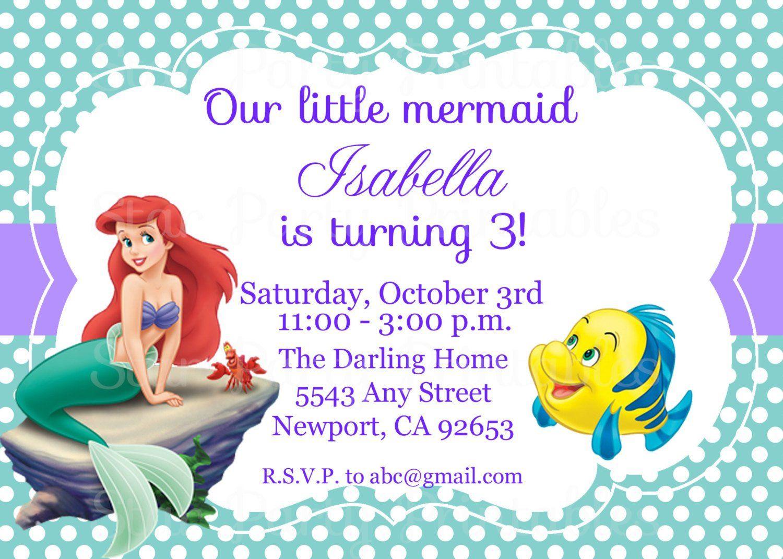 The Little Mermaid Invitation Ariel Disney Princess