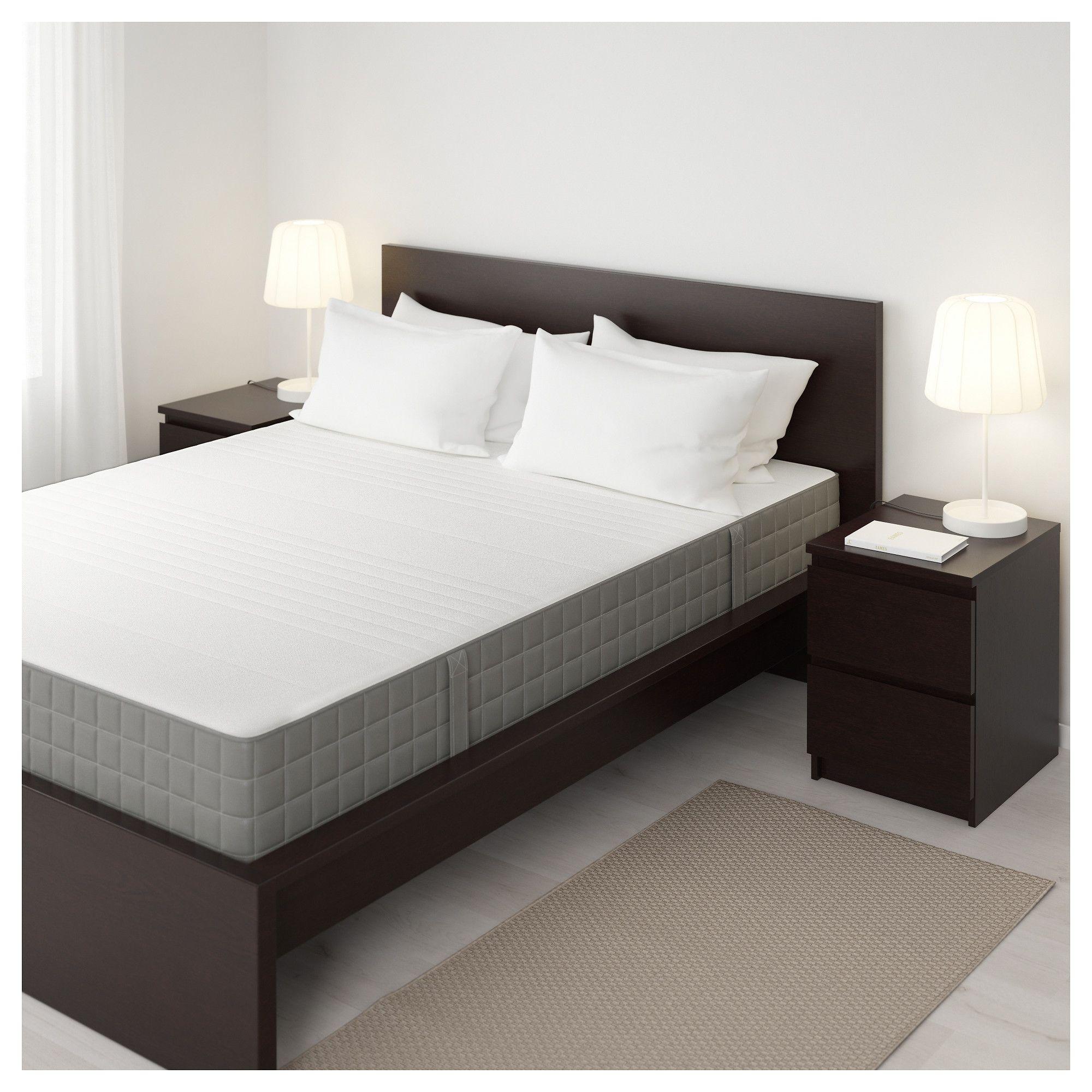 HAUGSVÄR Hybrid mattress medium firm, dark gray Queen