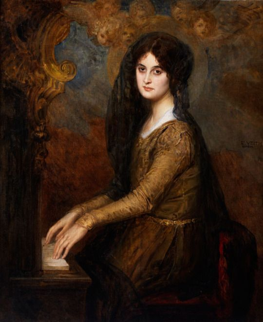 Eduard Veith (Austrian, 1858-1925). Portrait of a mourning young woman at the organ