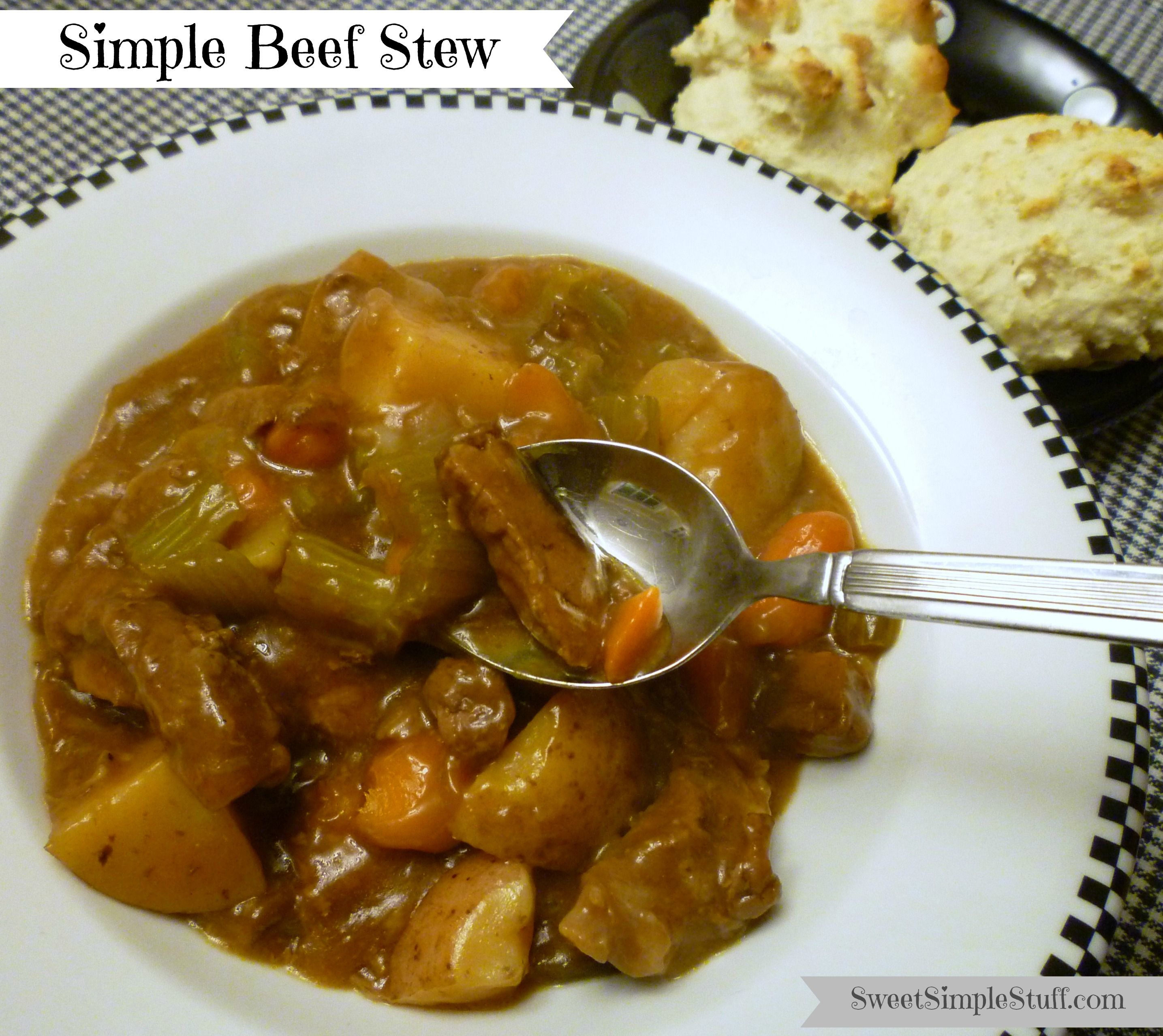Simple Oven Beef Stew -  this one brings back memories with the addition of Liptons Onion Soup Mix and Cream of Mushroom Soup.