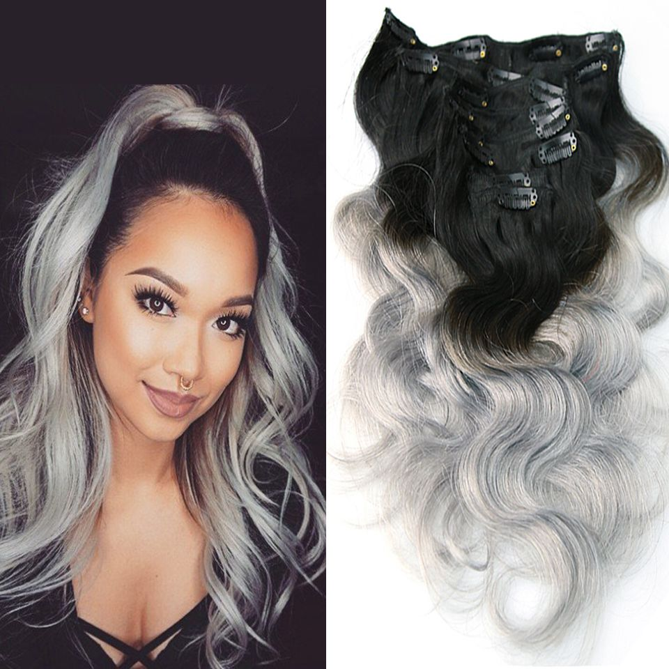 O mbre120 ombre brazilian clip in human hair extensions body wave silver grey clip in ombre clip in hair extensions full head pmusecretfo Images