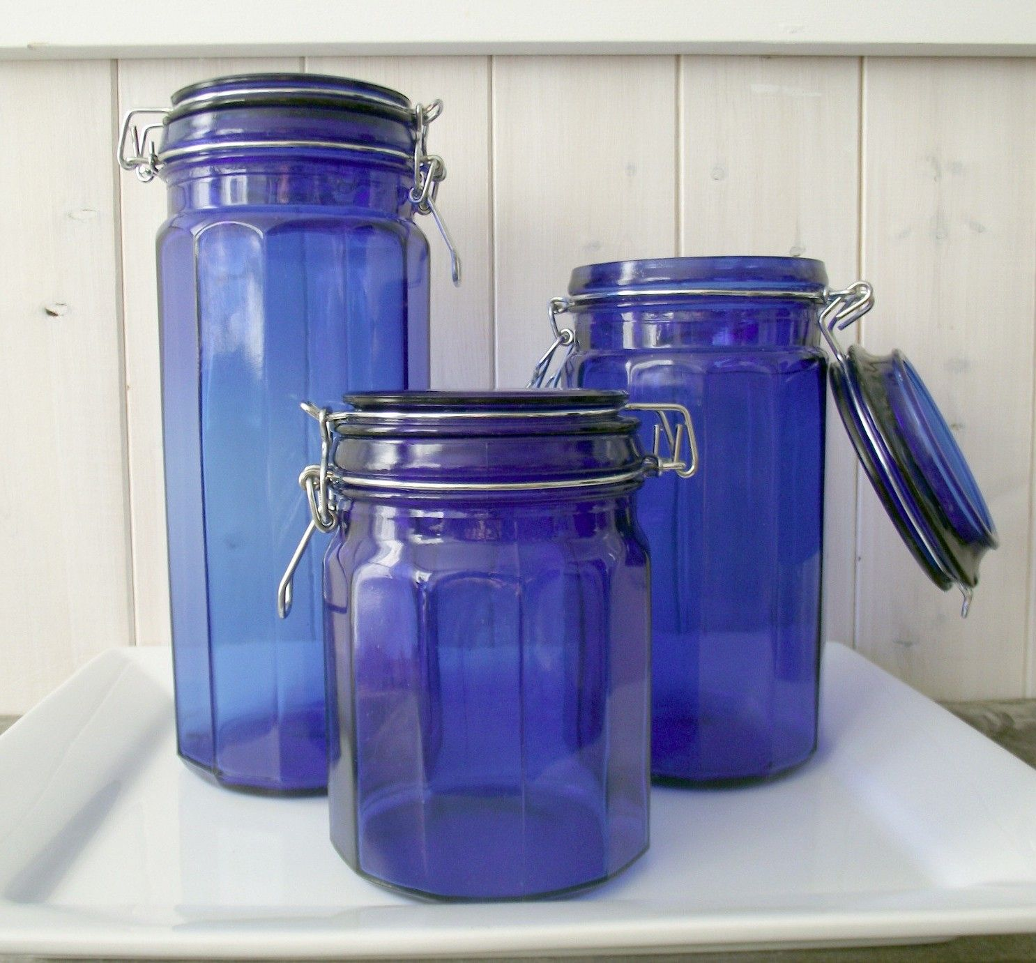 Blue Glass Kitchen Canister Set Retro Cobalt Blue Glass Canisters .