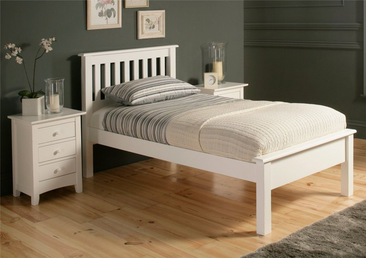 Shaker Solo White Wooden Bed Frame Lfe Single Bed Frame Only
