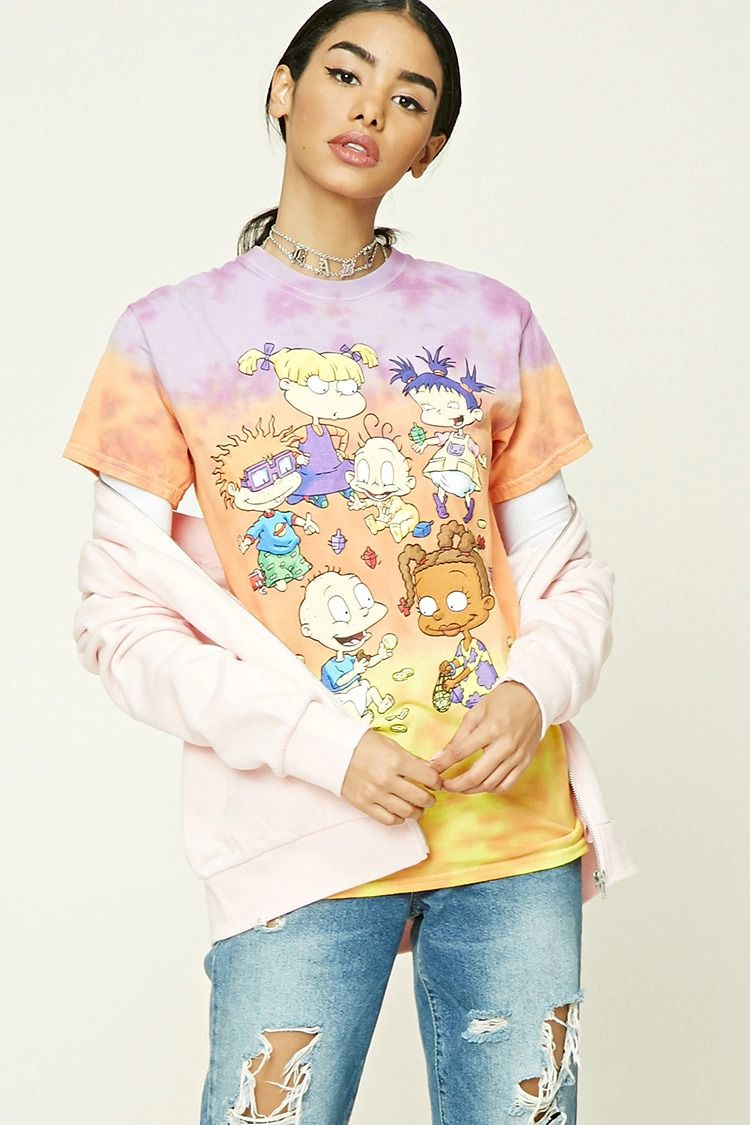 a55f3bebf3bb A knit tee featuring an allover tie-dye print, a front Rugrats graphic  including some of the main characters, a crew neck and short sleeves.