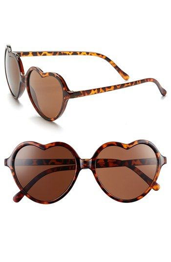 'Luv' Tortoiseshell Heart Sunglasses (Juniors)