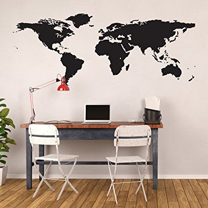 Amazonsmile world map decal large easy to apply vinyl wall amazonsmile world map decal large easy to apply vinyl wall decor black gumiabroncs Choice Image