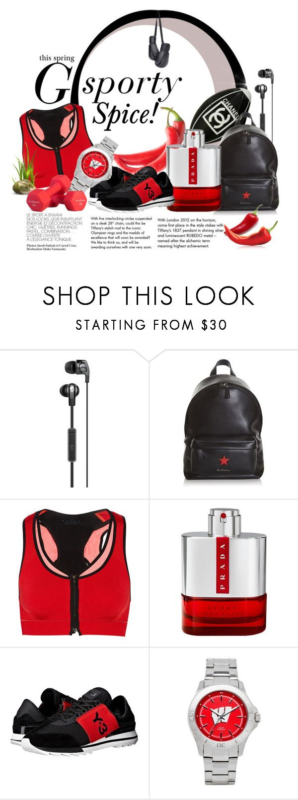 """""""Go Sporty Spice!"""" by alexandrazeres ❤ liked on Polyvore featuring Tiffany & Co., Chanel, Givenchy, Falke, Prada, Y-3, Jack Mason, sport, athletic and sportystyle"""
