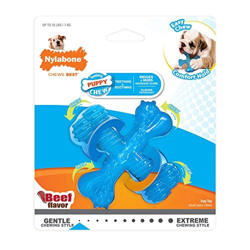 Nylabone Puppy Chew X Bone Beef Chew Toy X Small Durable Dog Toys Puppy Chewing Dog Toys