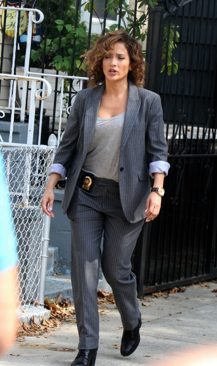 """Jennifer Lopez pictured filming scenes for the upcoming NBC TV series """"Shades of Blue"""""""