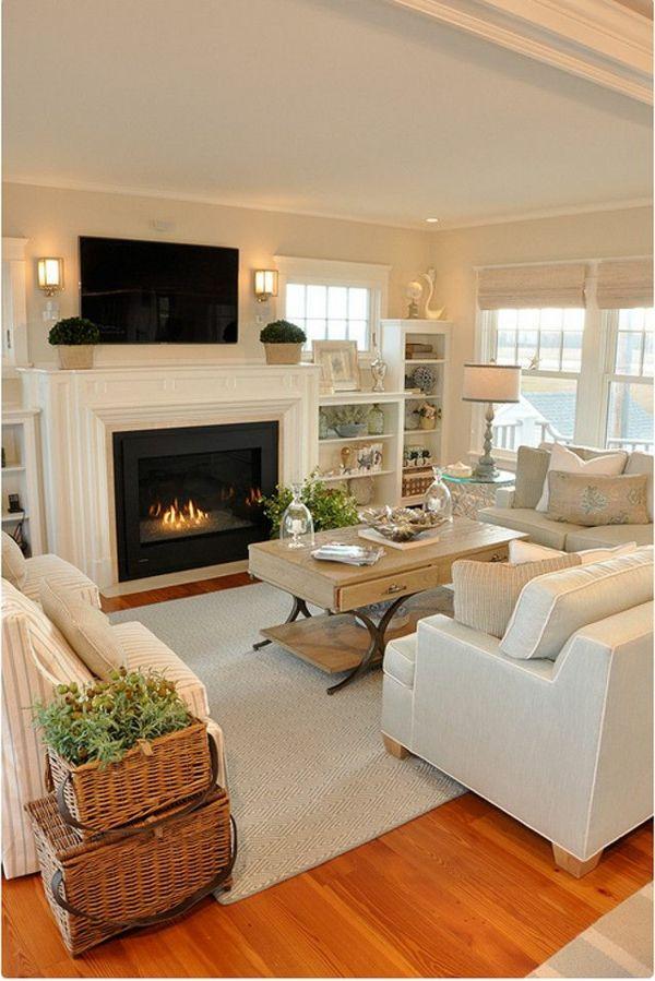 zimmer-einrichtungsideen-schöner-kamin-im-gemütlichen-wohnzimmer - wohnzimmer gemutlich kamin