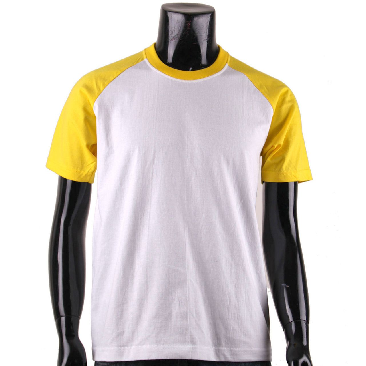 bcpolo - BCPOLO Men's Casual 2 Tone White-Yellow Raglan Shirt Crew ...