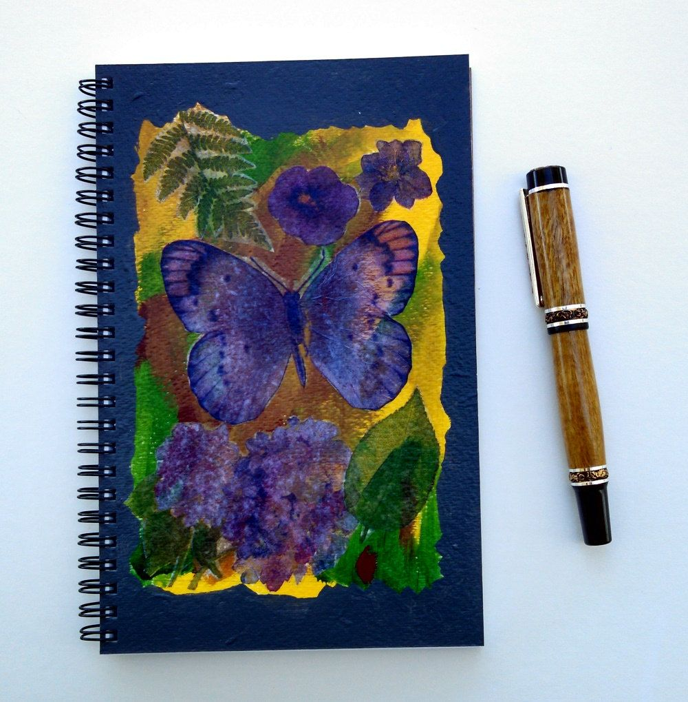 FREE SHIPPING; Spiral bound notebook/journal for writing, sketching, doodling; Hand Painted and Collaged Cover; Diary with a bit of art by KatStudioGallery on Etsy