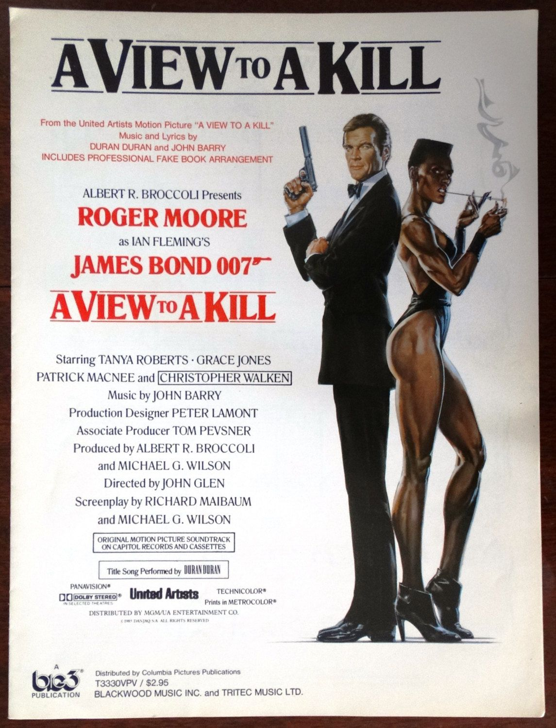 A View To A Kill James Bond 007 Vintage Sheet Music 1985 Roger