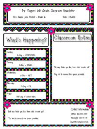 Classroom Newsletter Templates Just Fill In The Info And Create A