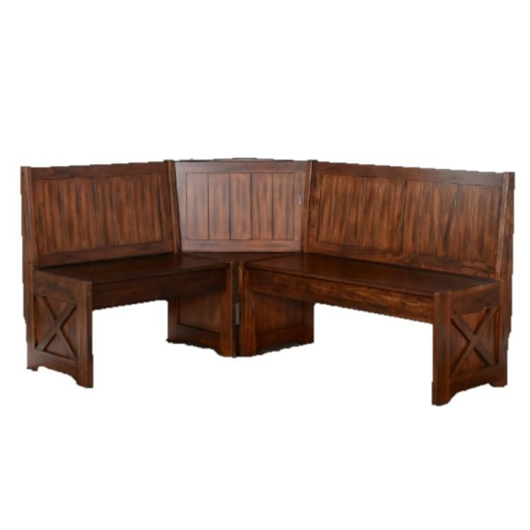 L-Shaped Brown Breakfast Nook Reversible Storage Bench with Back Support