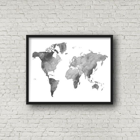 World map black white watercolor painting by emilietaylorllc world world map black white watercolor painting by emilietaylorllc world map home decor wall gumiabroncs Gallery