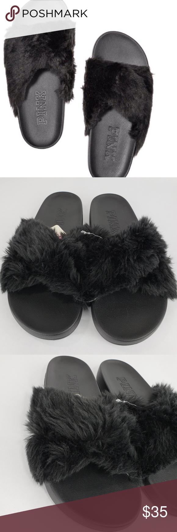 5752e8feb7af5 VS PINK Black Faux Fur Criss Cross Slides NWT Victoria's Secret PINK ...