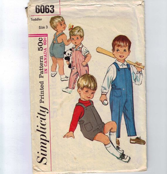 1960s Vintage Boys Sewing Pattern Simplicity 6063 Boys Toddler ...