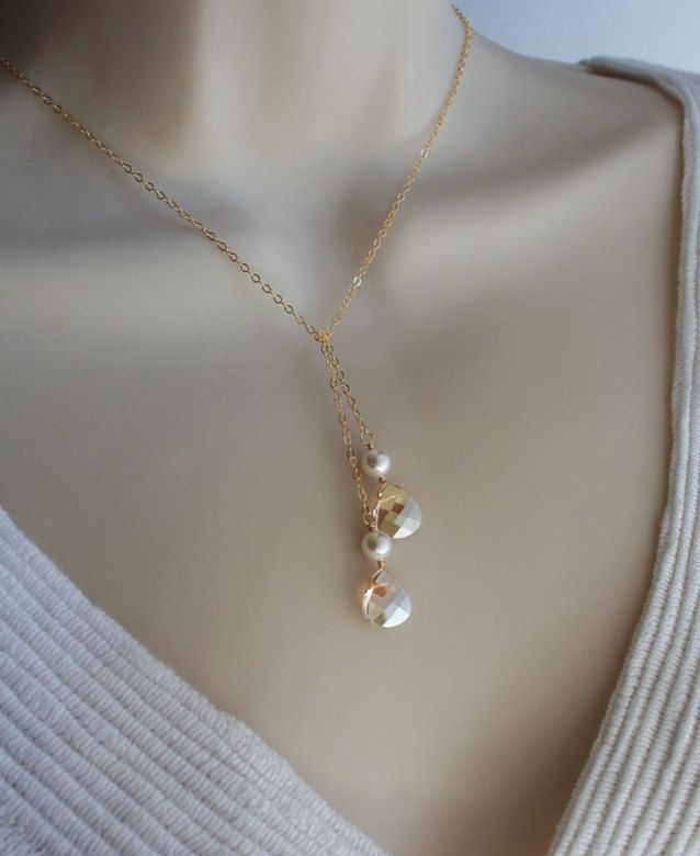 Gold Jewelry, Gorgeous Crystal Briolette Necklace, Gold filled chain. $30.50, via Etsy.