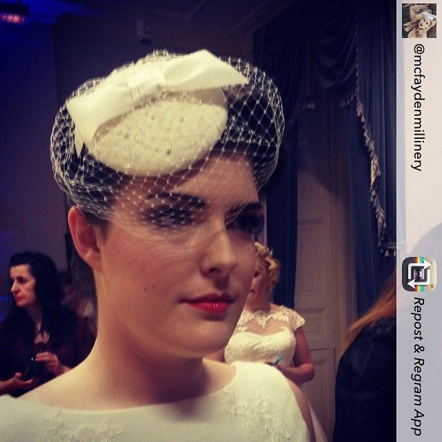 The gorgeous Olivia wearing a @mcfaydenmillinery birdcage veil on the catwalk last night  #vintagebride #birdcageveil #50sbride #60sbride #rockthefrockshowcase