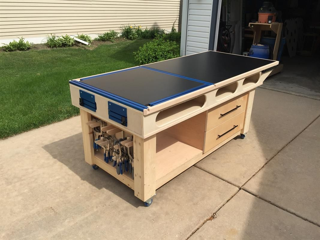 For over a year, I have been wanting and designing a Mobile Outfeed Assembly Table (MOAT). This is the culmination of multiple decisions and research into what I desired for my shop. For a video representation of the build, see the link in the Extras tab! Thanks!
