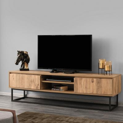 Meuble Tv Belinda 180 X 40 X 50 Cm Noir Pin Brico Prive In 2020 Living Room Furniture Furniture Interior