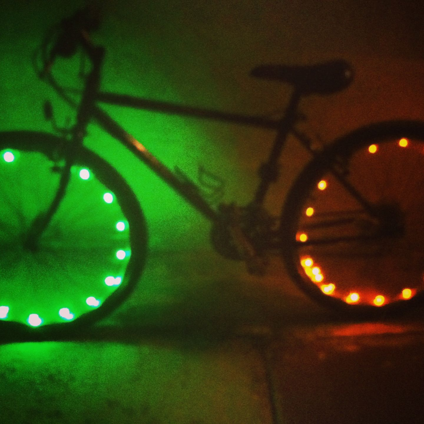 Led Green And Yellow Bike Lights Bicycles Spokes Sports Exercise