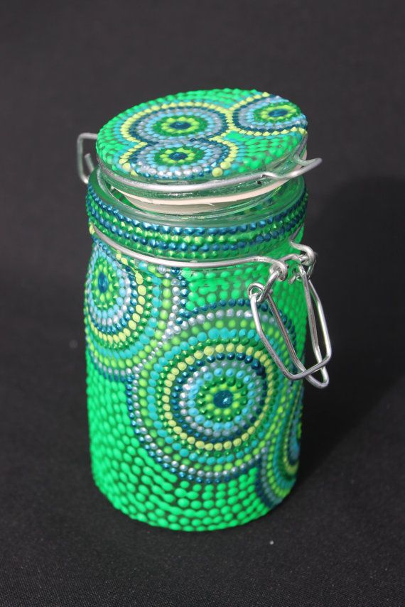 Cool Toned Pointillism Stash Jar W Circles Stash Jars Painted Jars Jar Crafts