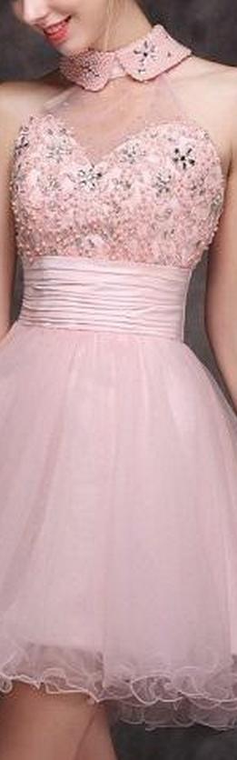 Homecoming Dresses Under 100 Halter Sheer Neck Beaded Short Prom Dresses Custom Made Hot Pink Red Lace Elegant Organza Dresses