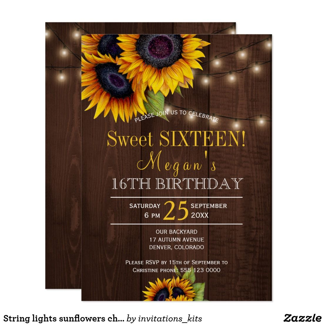 String lights sunflowers chic rustic sweet sixteen card   Party ...
